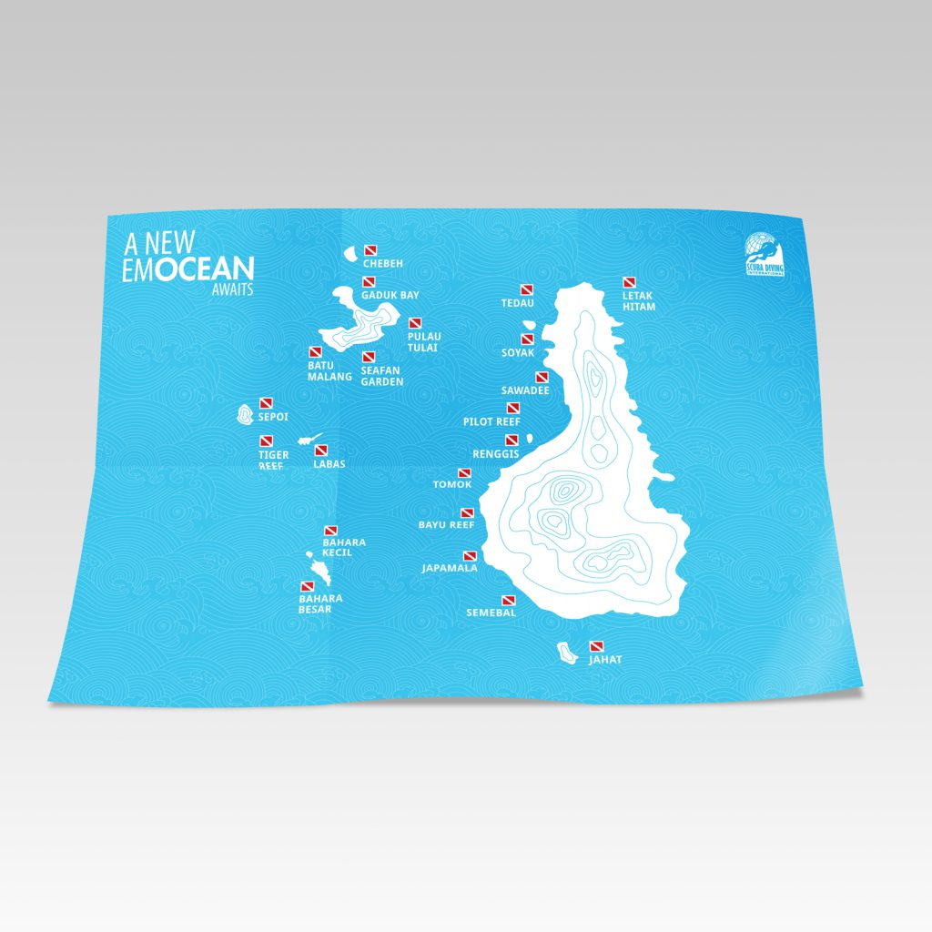 brochure and dive site map design 50bar scuba design
