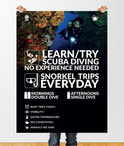 outdoor diving poster design by 50bar scuba design