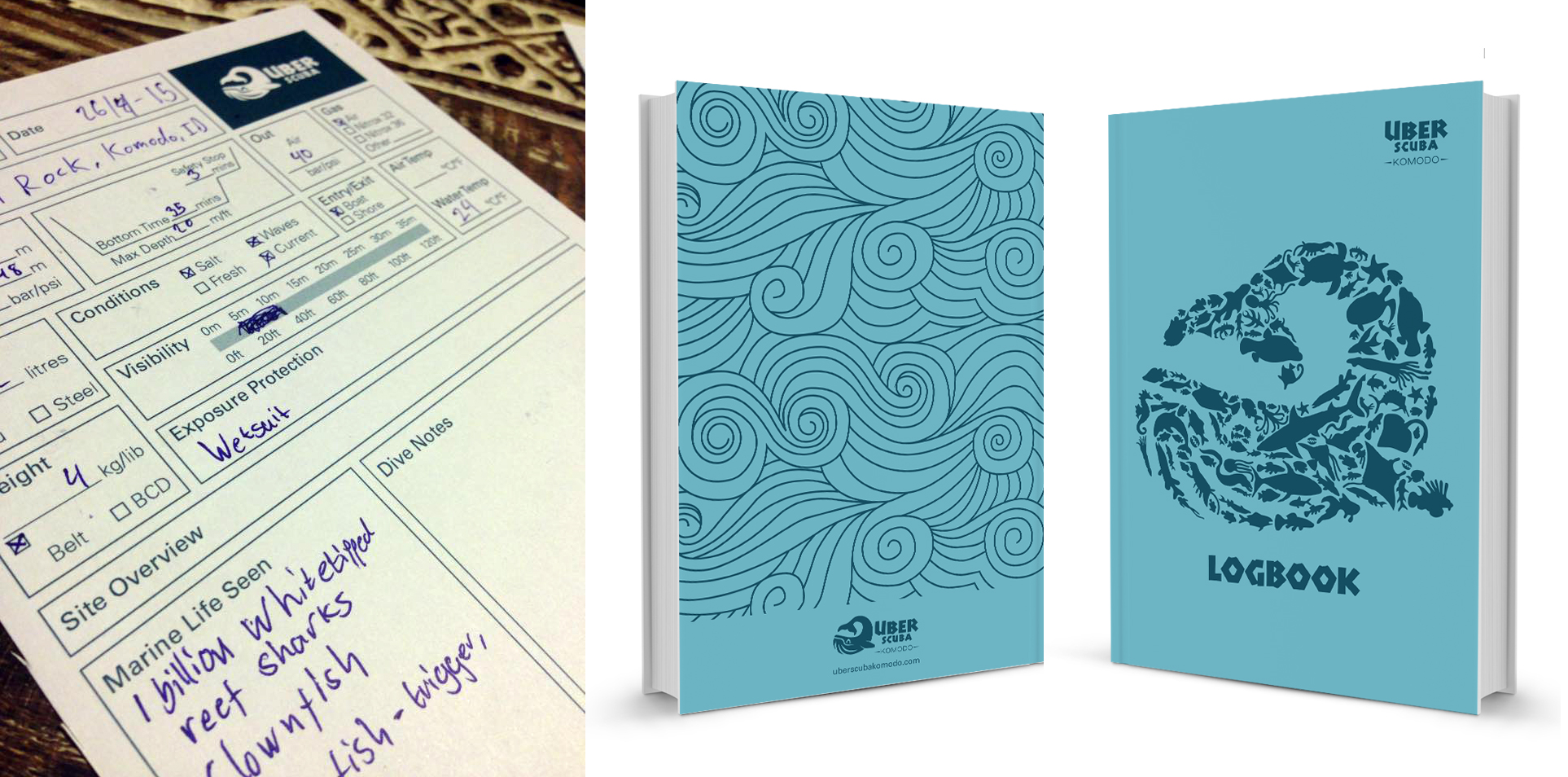 scuba diving logbook design by 50bar scuba design