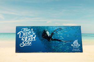 scuba diving outdoor banner advertising design by 50bar scuba design