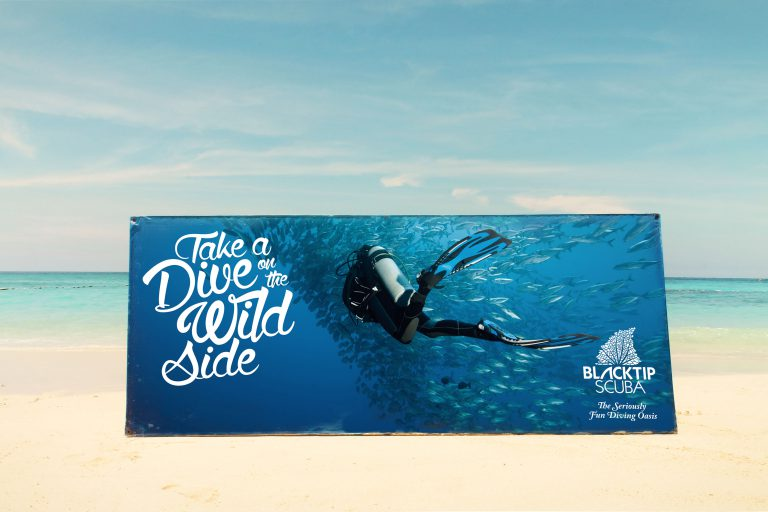 scuba diving outdoor banner advertising design by 50bar scuba design