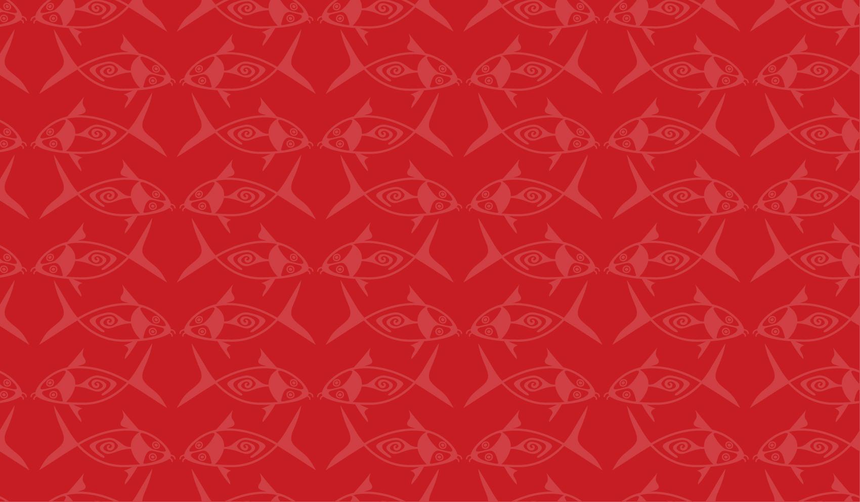 Red background illustrations for Biodiversity Raja Ampat