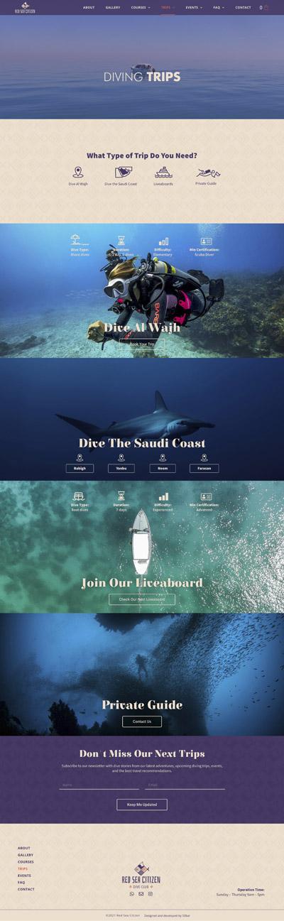 red sea citizen dive club website design