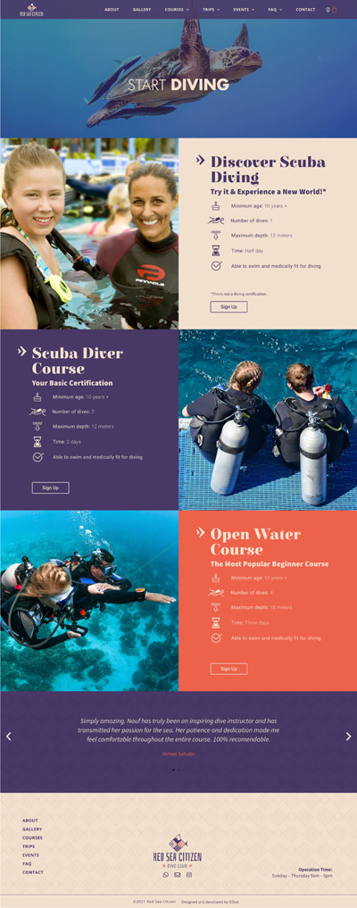 red sea citizen dive club course website design